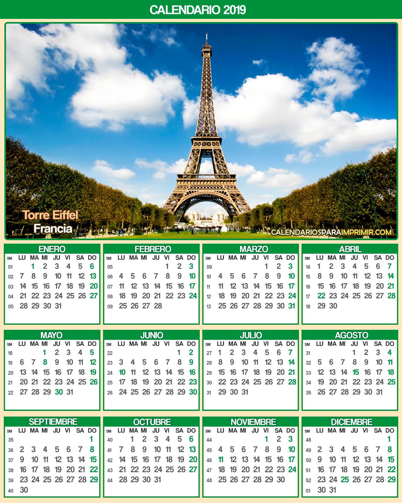 calendario francia 2019