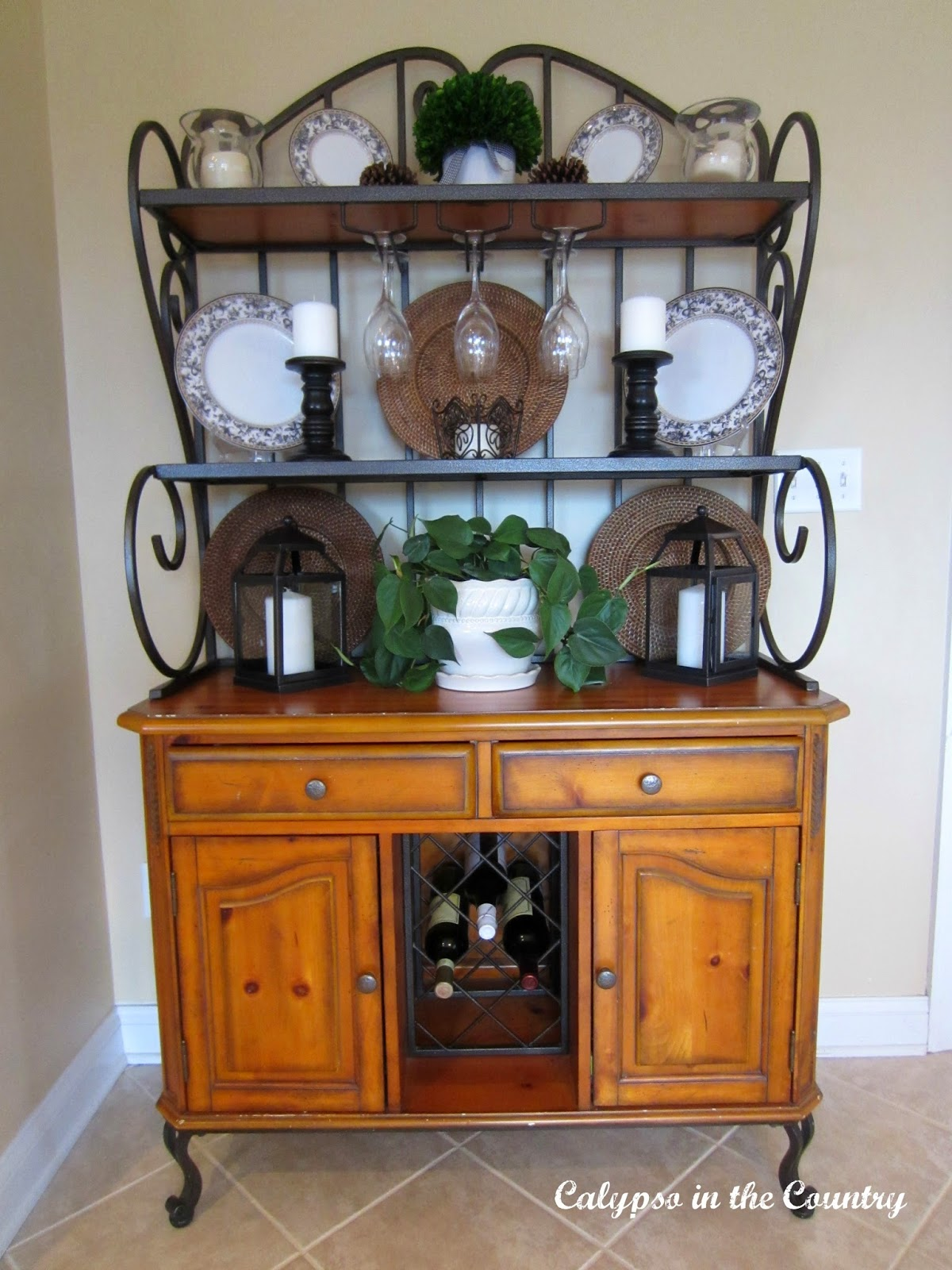 Decorated Baker's Rack in Kitchen - along with shopping sources