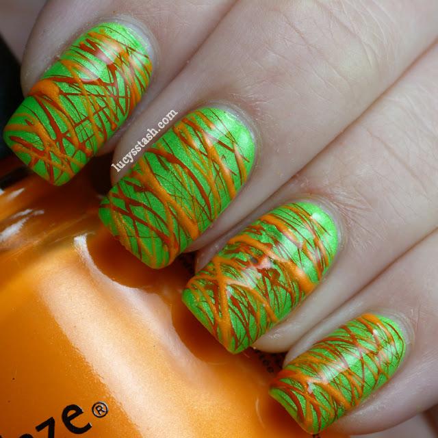 Lucy's Stash - Green and Orange Sugar Spun manicure