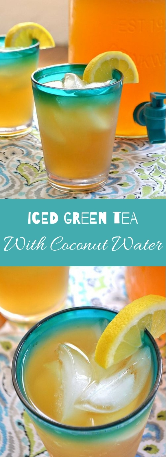 Iced Green Tea with Coconut Water #freshdrink #greentea