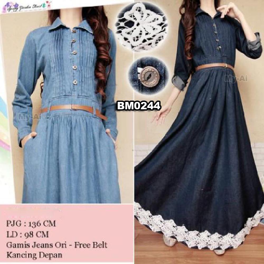 Bursa Grosir Busana Muslim Tanah Abang BM0244 Gamis Jeans Renda b595d5e0b1