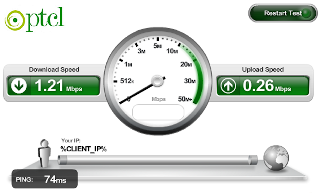 Internet Speed Checker PTCL Broadband internet