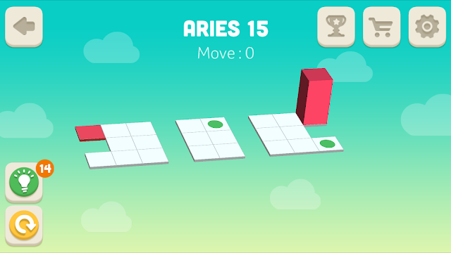 Bloxorz Aries Level 15 step by step 3 stars Walkthrough, Cheats, Solution for android, iphone, ipad and ipod