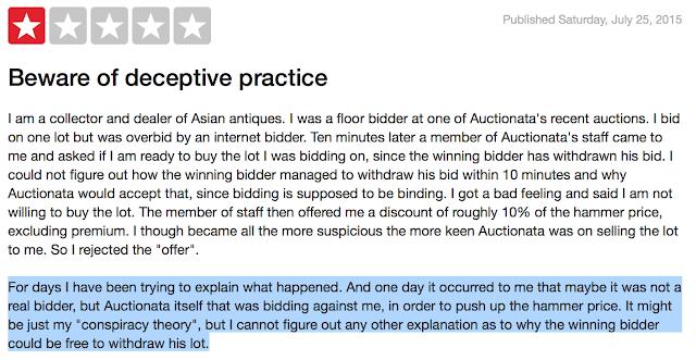 Auctionata itself that was bidding against me,