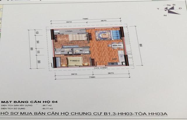Sơ đồ thiết kế căn hộ 04 chung cư B1.3 HH03A Thanh Hà Cienco 5