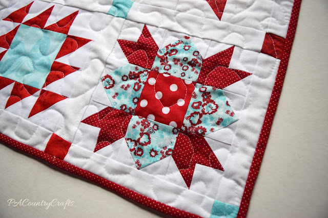 Red and Aqua Sampler Doll Quilts- Welcome Block