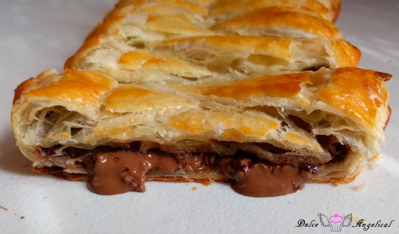 Deliciosa trenza de hojaldre y chocolate