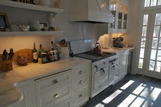 Vintage Chambers Model BZ stove in modern white kitchen in Mequon, Wisconsin near Milwaukee