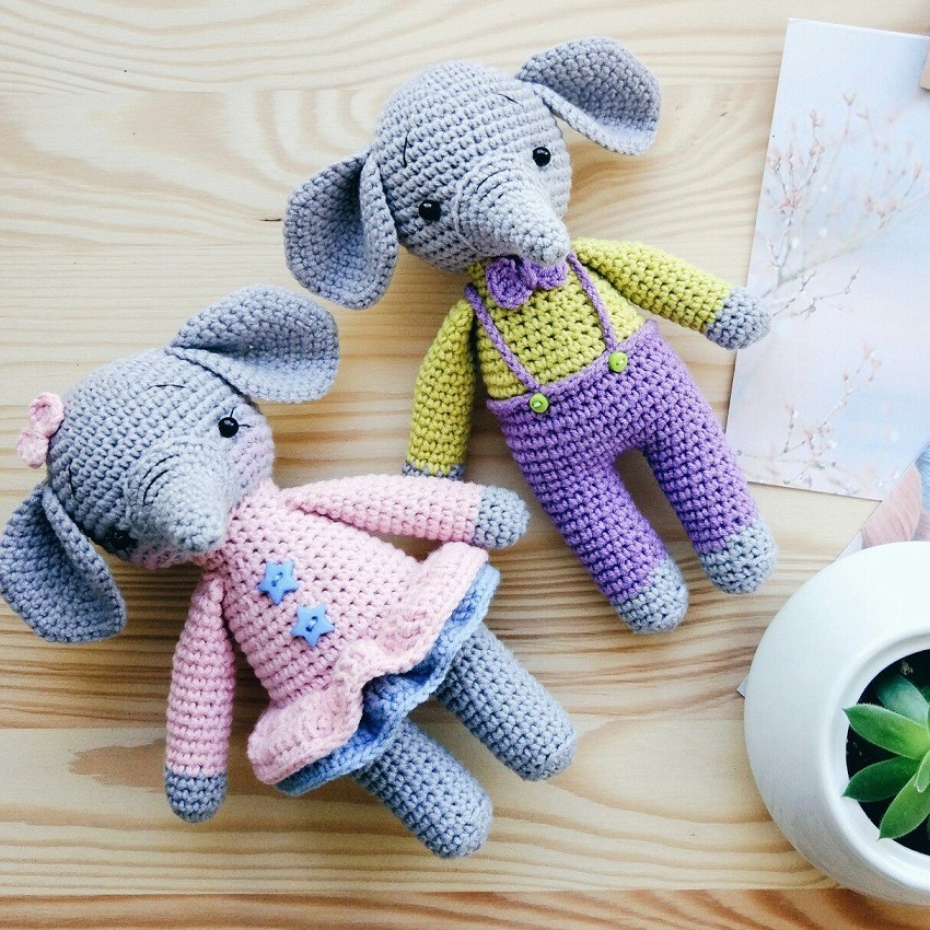 Crochet baby elefants amigurumi pattern