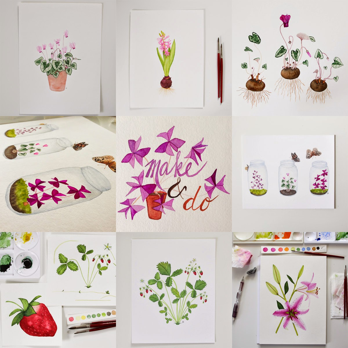 photo collage of watercolor paintings
