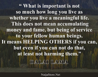 Dalai Lama - What is important is not so much how long you live as whether you live a meaningful life. This does not mean accumulating money and fame, but being of service to your fellow human beings. It means HELPING OTHERS if you can, but even if you can not do that, at least not harming them - Quotes