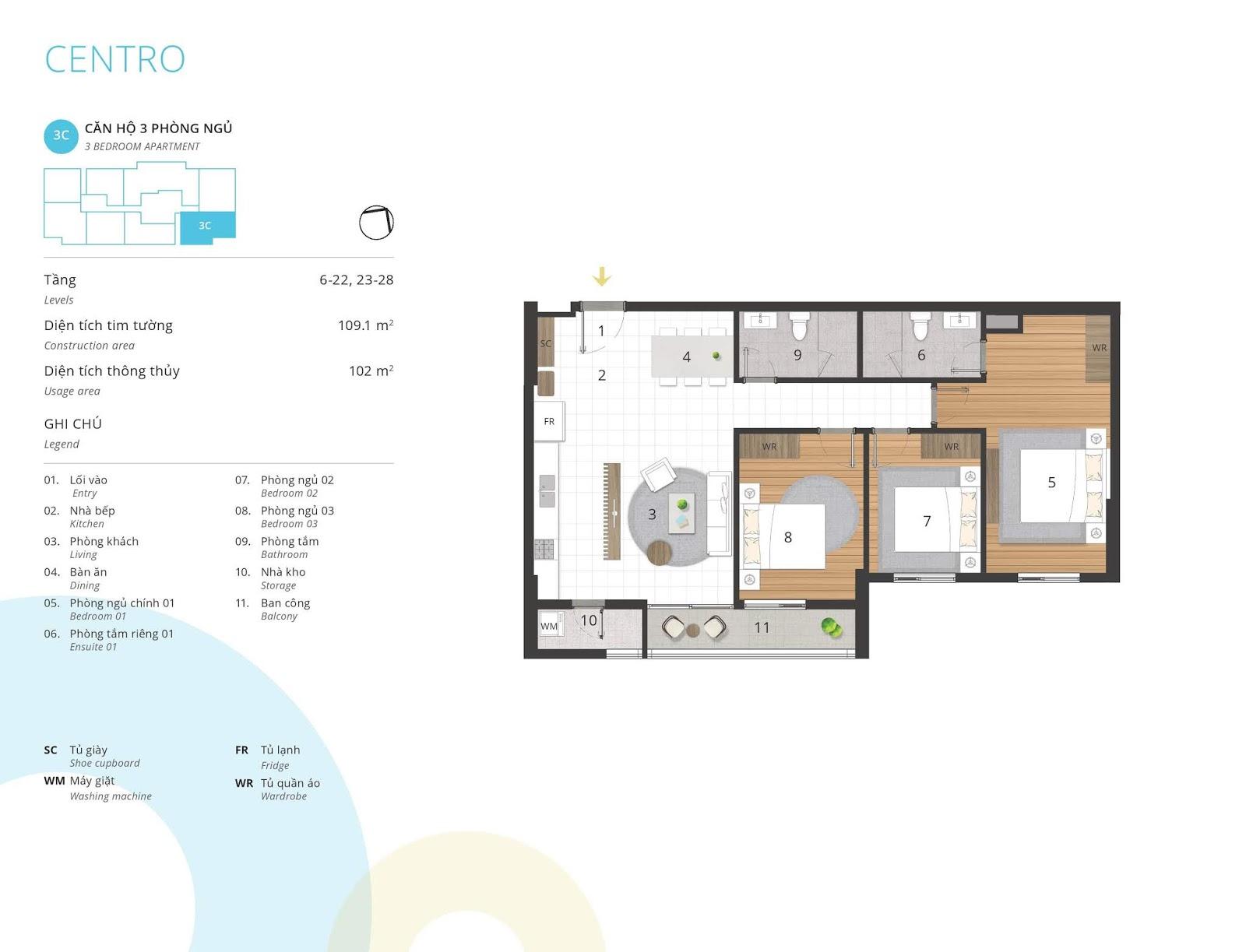 Mặt bằng căn hộ 3 phòng ngủ 102 m2 thông thủy tòa CENTRO