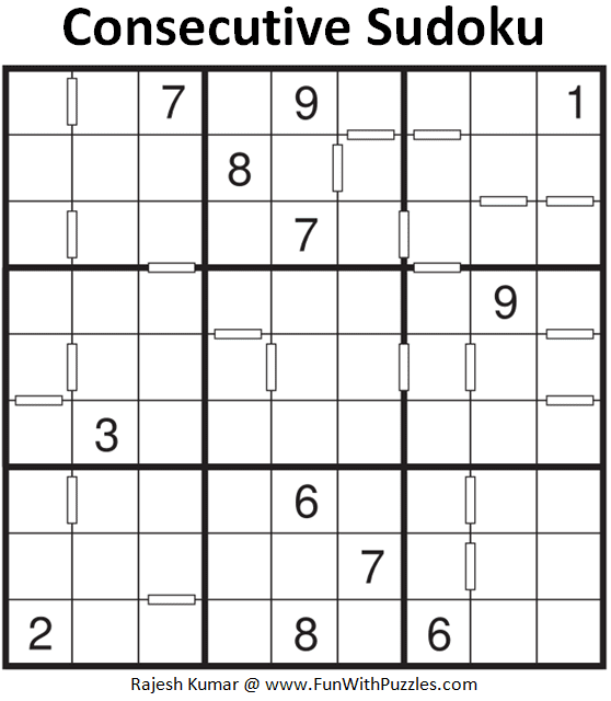 Consecutive Sudoku Puzzle (Fun With Sudoku #382)
