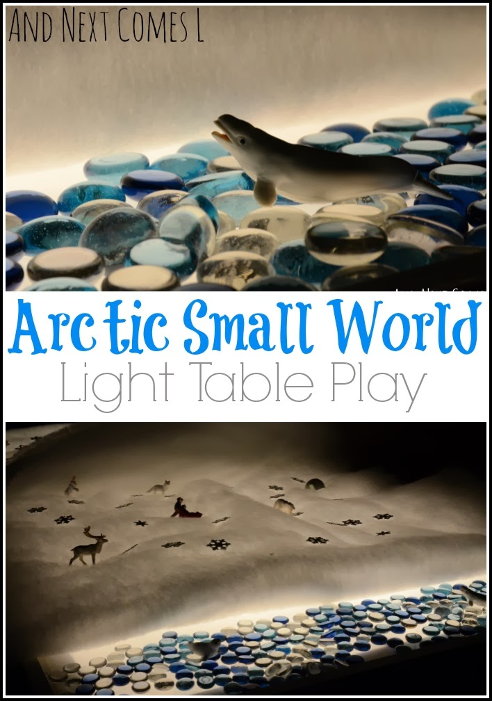 A beautiful Arctic small world on the light table that takes less than five minutes to set up from And Next Comes L