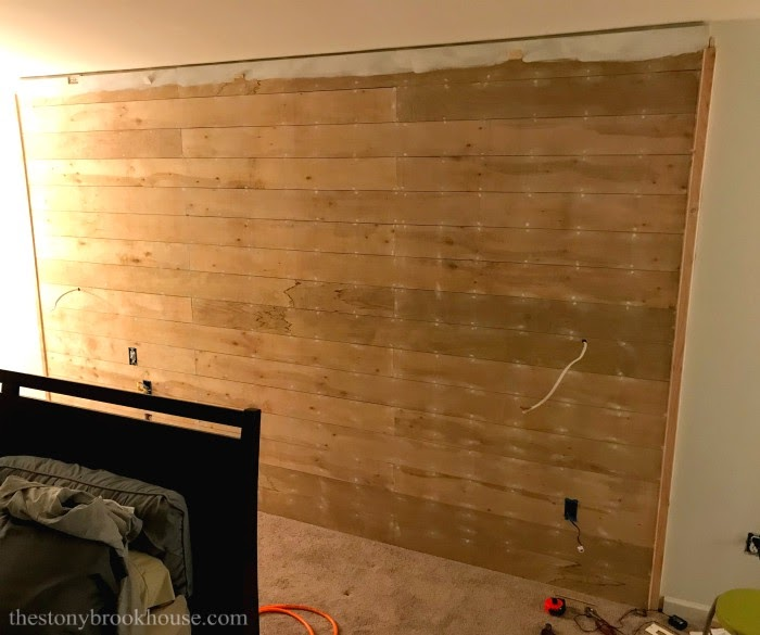 Shiplap accent wall installation