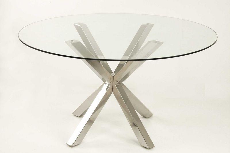 Muebles de forja mesas de acero con tapa de cristal o madera for Mesas redondas de cristal y acero
