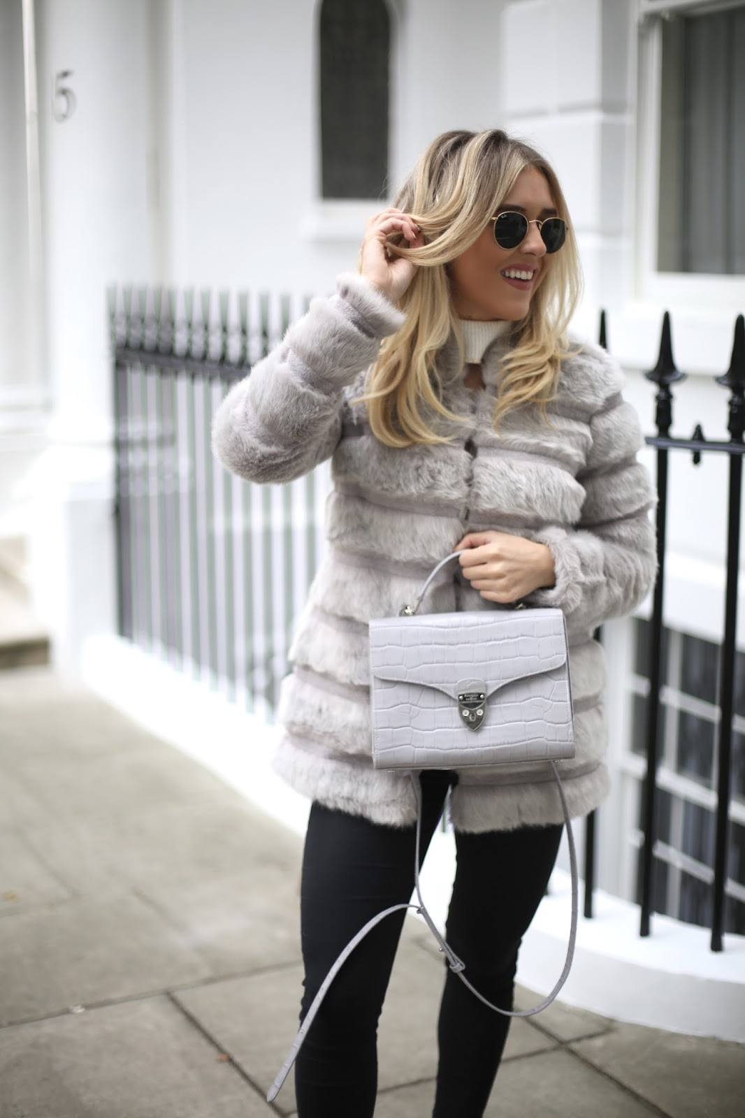 grey faux fur guess jacket