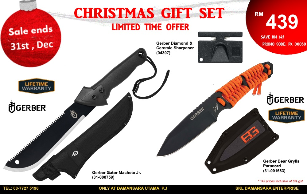 Christmas Promotion! Gerber Gator Jr, Bear Grylls Paracord & Sharpener @ RM 439 Only!