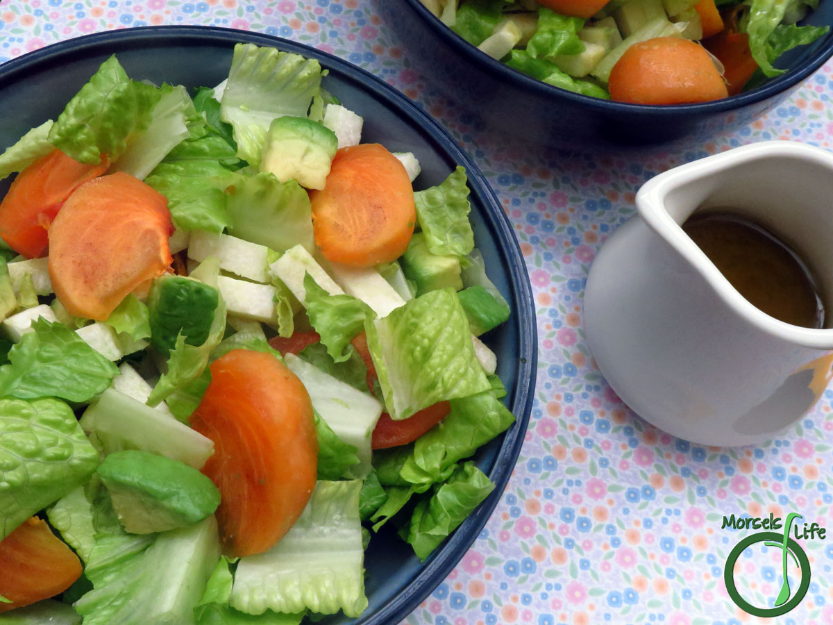 Morsels of Life - Jicama Persimmon Miso Salad - Toss some jicama and persimmons into your lettuce salad. Top it off with a citrusy miso dressing for one flavorful and texturally diverse Jicama Persimmon Miso Salad!