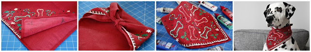 Homamde ugly Christmas sweater dog bandana with fabric paint