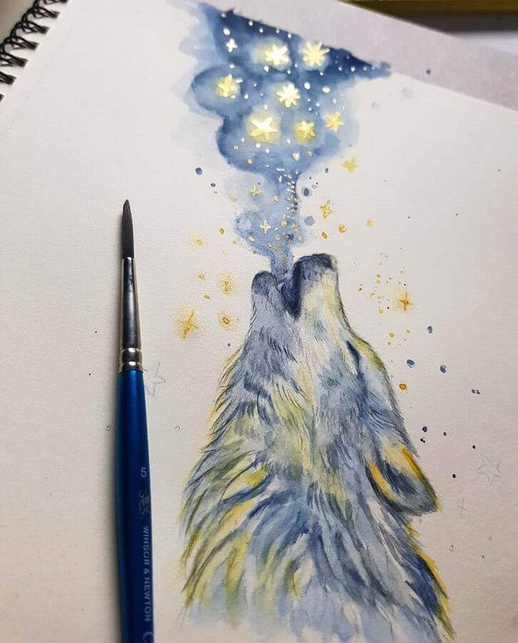 11-Howling-Wolf-Kleevia-Animal-Art-www-designstack-co