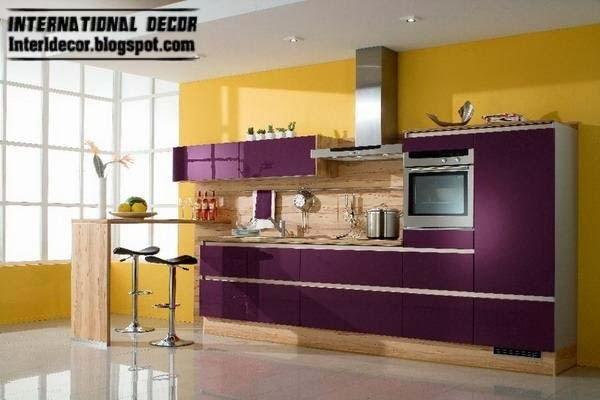 Yellow And Purple Kitchen Interior Design Contemporary Kitchens 2017