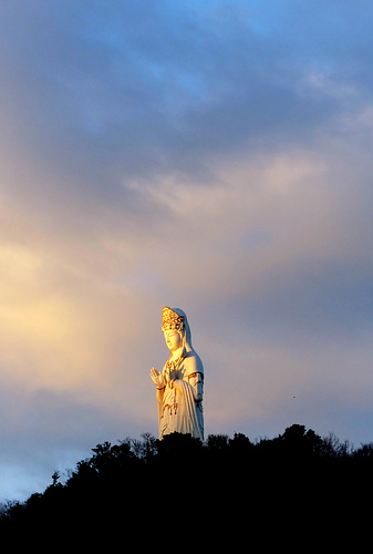 The Great Kannon of Shodoshima catches the first rays of dawn.