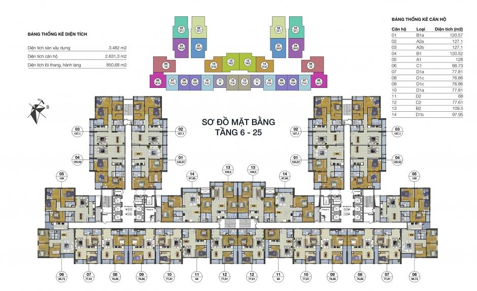 Mặt bằng tầng 6-25 dự án Goldsilk Complex