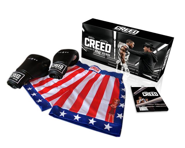 Box com blu-ray, calção e luvas do filme Creed. Blog Mineira sem Freio
