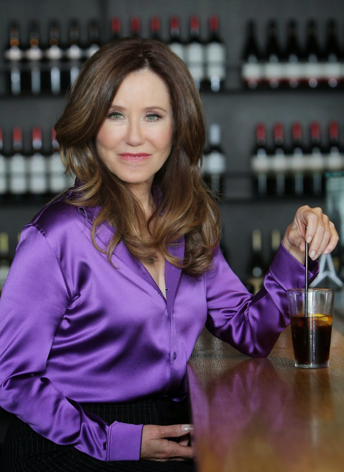 Mary Mcdonnell Purple Satin Blouse Satin Lite House