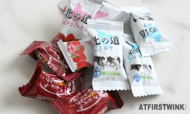 Review: Japanese soft chew milk candies - milk, strawberry, red bean