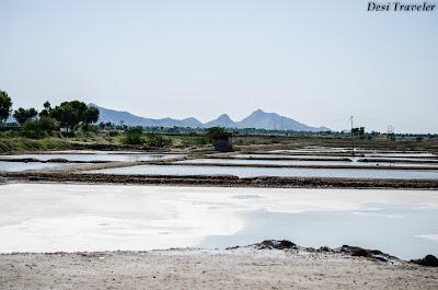open salt pans to make salt from brine in Tal Chapar Rajasthan