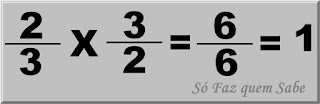 Ilustração mostrando que a multiplicação de uma fração (2/3) por seu inverso (3/2) dá como resultado a unidade, ou seja, 1.