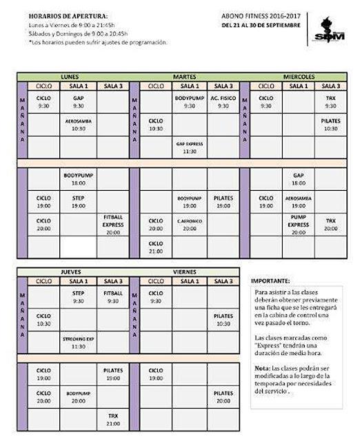 horario clases fitness hasta el 30 de septiembre