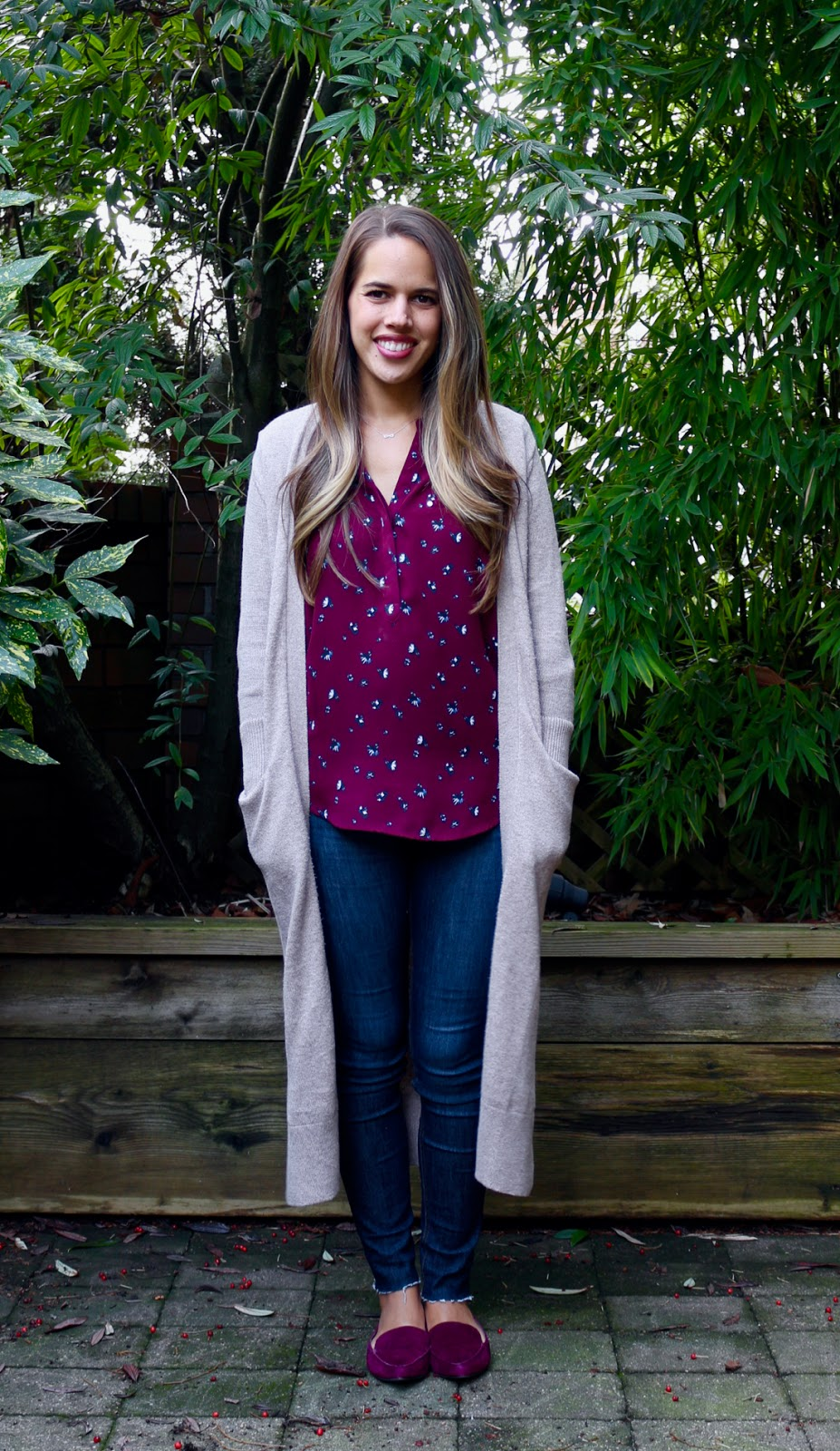 Jules in Flats - Long Open Front Cardigan with Burgundy Blouse + Loafers (Business Casual Winter Workwear on a Budget)