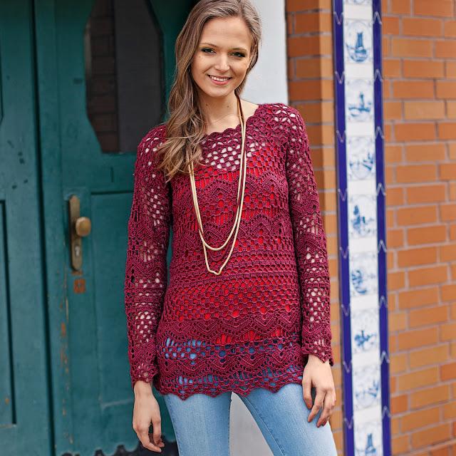 Patrón #1768: Blusa de Encaje a Crochet