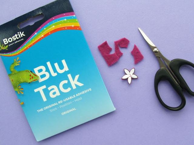 Cutting Out Small Felt Shapes With Blu Tack