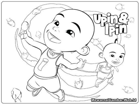 Tranh cho bé tô màu Upin & Ipin