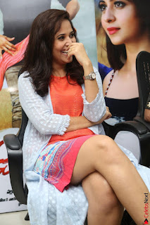 Actress Anasuya Bharadwaj in Orange Short Dress Glam Pics at Winner Movie Press Meet February 2017 (23).JPG