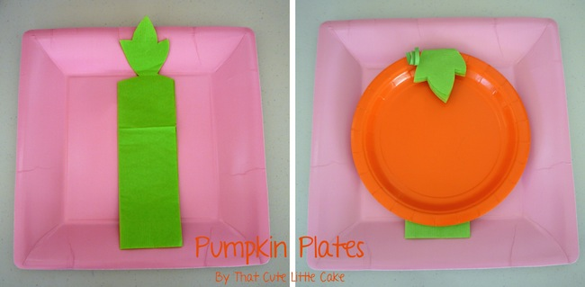 Lay a pink square plate then the napkin with the cutout leaf and finally the orange plate on top. & That Cute Little Cake: Craft Pumpkin Plates