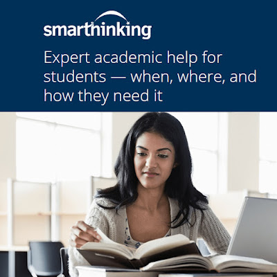 Poster for Smarthinking.  Image of a student studying.  Text: Expert academic help for students--- when, where, and how they need it.