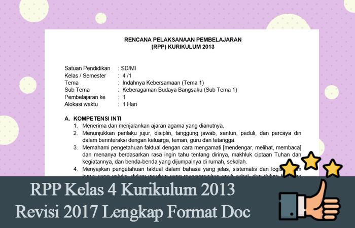 RPP Kelas 4 Kurikulum 2013 Revisi 2017 Lengkap Format Doc