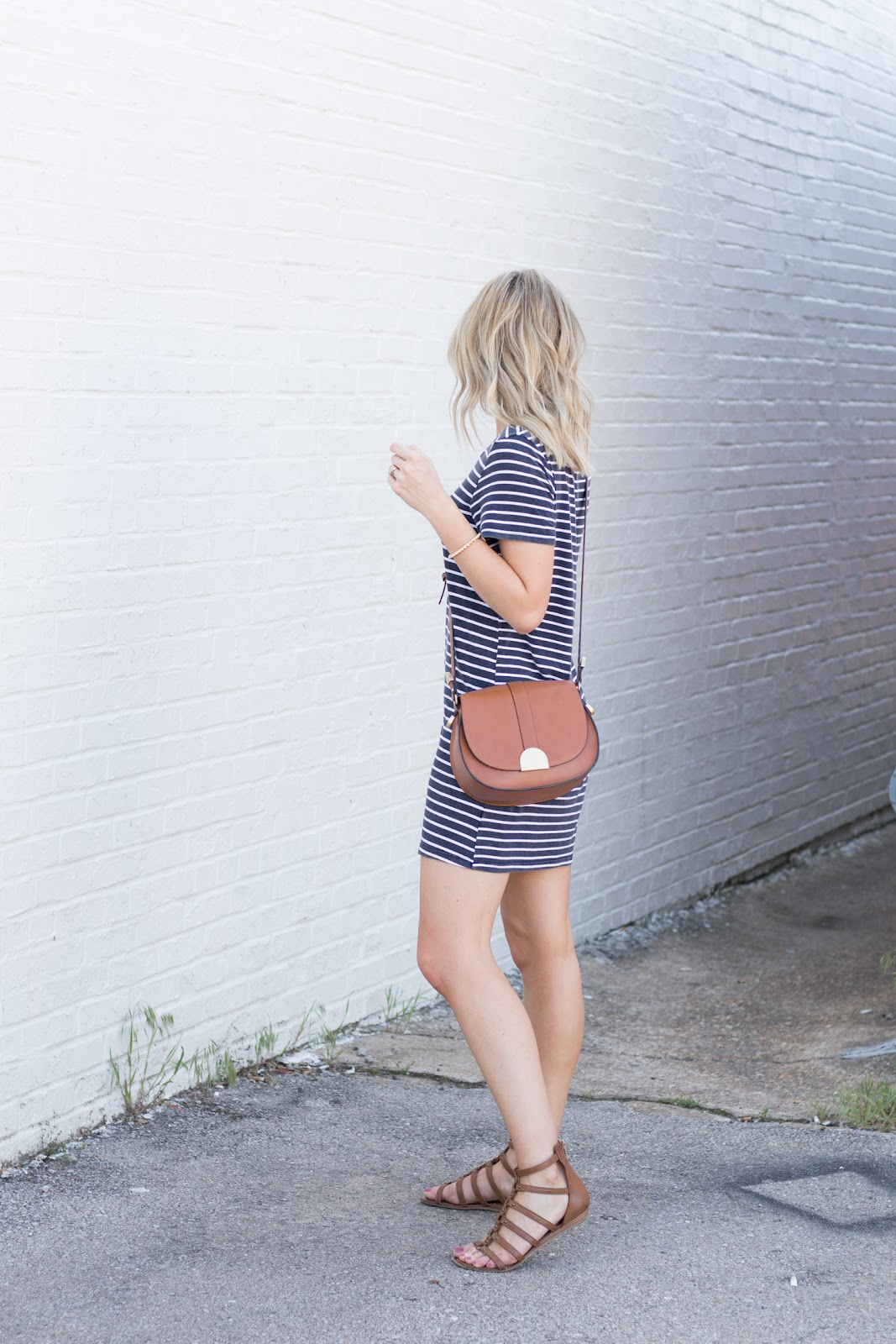 Simple summer outfit with a striped dress