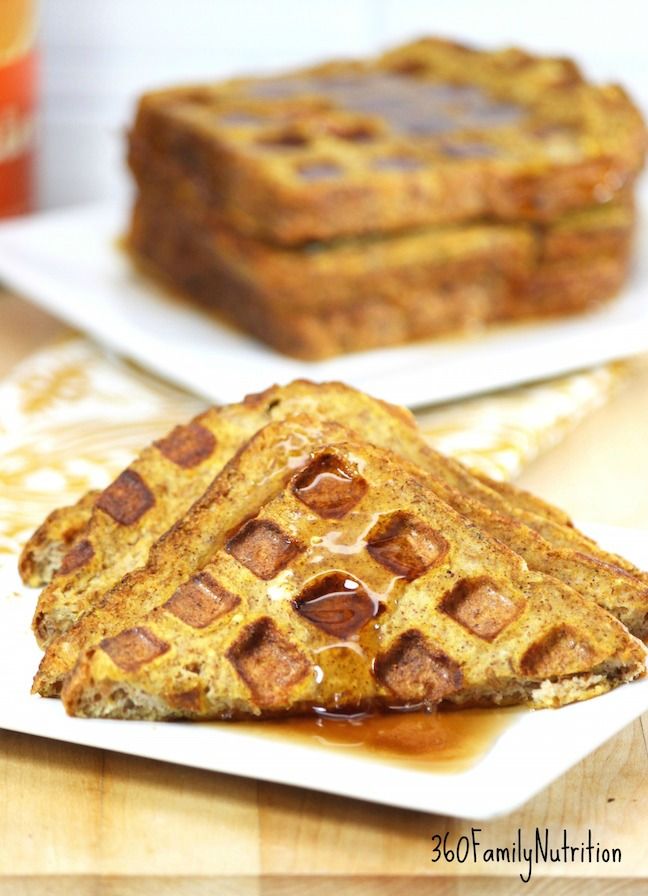 Pumpkin flavored french toast prepared in a waffle iron