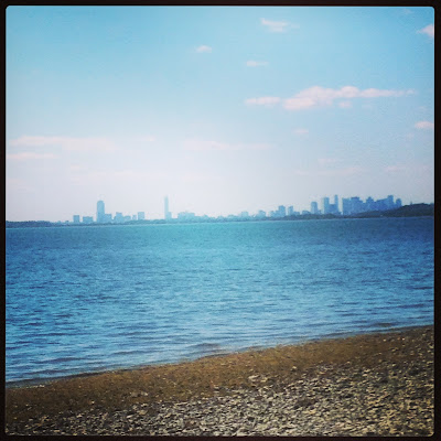 Boston City Skyline from the shore in Hough's Neck