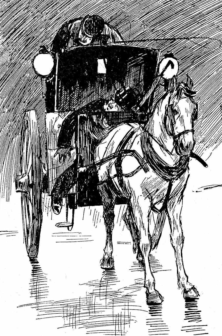 an L. Raven Hill illustration of a passenger unconscious in a horse cab