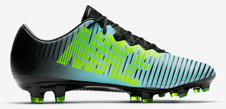 The new Nike Mercurial fades from  Light Aqua  at the front towards black  in the back. The big Swoosh at the front is white with a  Volt  outline 8ce60d5339