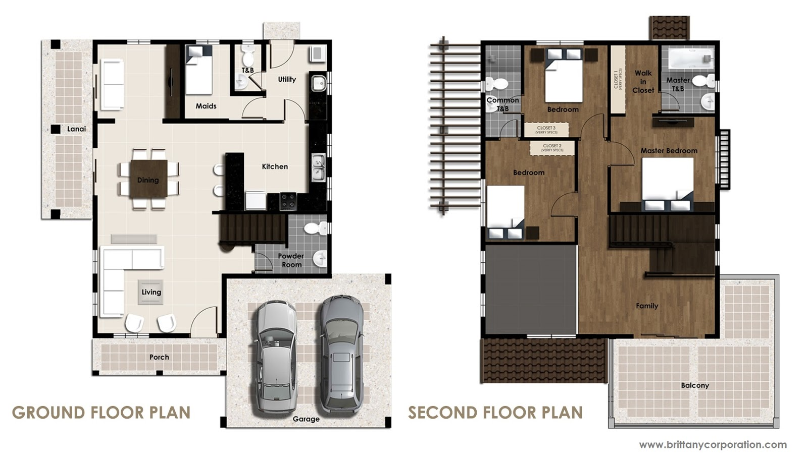 Floor Plan of Carletti Model - Amore Portofino   House and Lot for Sale Daang Reyna Las Pinas