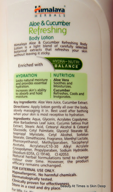 Himalaya Herbals Aloe & Cucumber Refreshing Body Lotion Ingredients