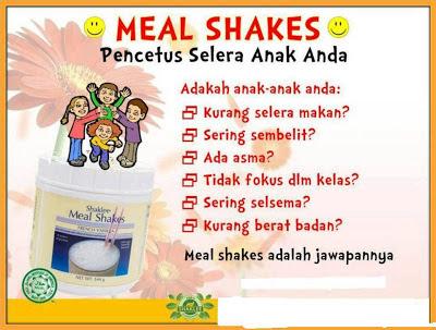 Meal Shakes adalah makanan tambahan terbaik buat anak anda